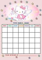 HELLO KITTY personalised Reward Chart + Stickers.