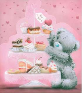 ME TO YOU SOFTLY DRAWN TATTY TEDDY BEAR WITH CAKES ON A STAND CARD NEW