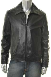 Tommy Hilfiger NEW Mens Black Leather Coat