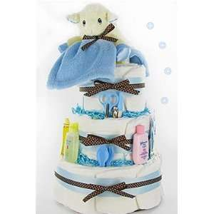 Sweet Lamb Diaper Cake   Boy Baby