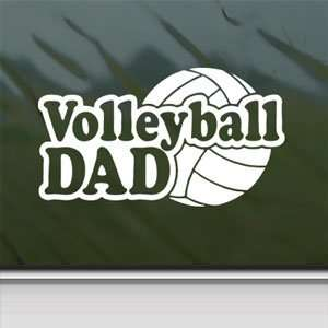 Volleyball Dad White Sticker Car Laptop Vinyl Window White