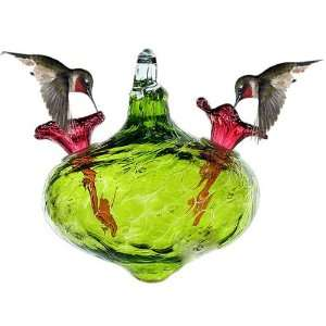 Green Gem Blown Glass Hummingbird Feeder By Bird Brain