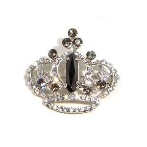 Smokey Black Austrian Rhinestone Royal Crown Silver Plated Brooch Pin