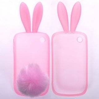 Bunny Design Soft Silicone Skin Gel Cover Case with Fur Tail Stand