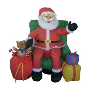 Airblown Inflatable Animated Musical Santa & Chair Lighted Christmas