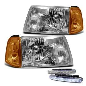 Chrome Amber Head Lights + Corner + LED Bumper Fog Lamp Pair Set