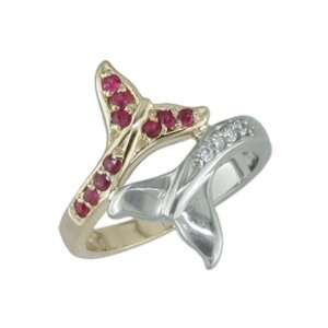 Ashae   size 5.25 14K Two Tone Gold Ruby & Diamond Ring Jewelry