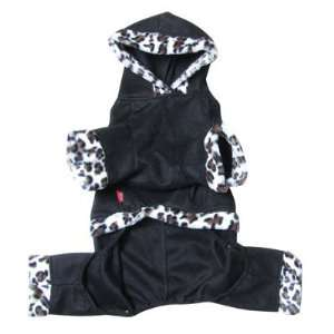 Como Pet Dog Apparel Leopard Pattern Four legged Hooded