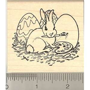 Bunny Painting Easter Eggs Rubber Stamp   Wood Mounted