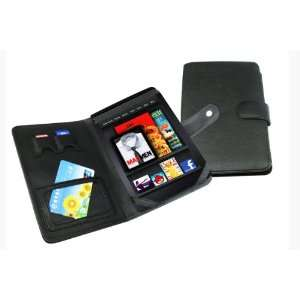slim Black Leather Folio Case Cover Pouch for Kindle Fire MID Tablet