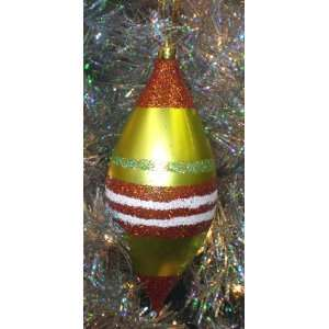Lime Green   Red & White Glitter Striped Teardrop Christmas