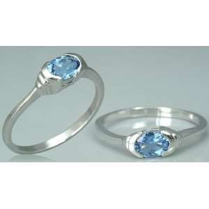Oval Cut London Blue Topaz Ring Sterling Silver Rhodium