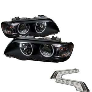 Halo Black Projector Headlights and LED Day Time Running Light Package