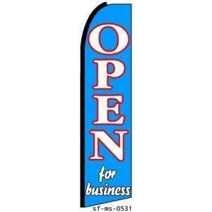 Open For Business Extra Wide Swooper Feather Business Flag