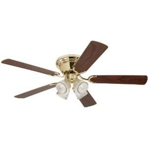 Light 52 Inch Five Blade Indoor Ceiling Fan, Polished Brass with Clear