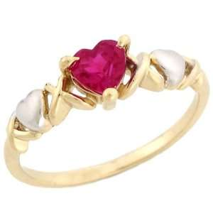 tone Gold Heart Shaped Synthetic Ruby July Birthstone Ring Jewelry