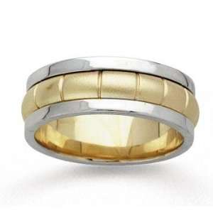 14k Two Tone Gold Fine Pattern Hand Carved Wedding Band Jewelry
