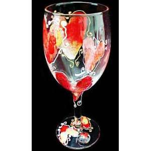 Hearts of Fire Design   Hand Painted   Grande Wine  16 oz