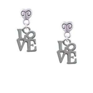 Mini Silver Love in Square   Im. Rhodium Plated Mini Heart
