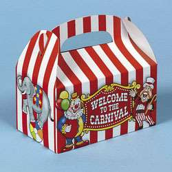 12 Big Top Carnival Treat Boxes Birthday Party Favors