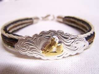 WESTERN BARREL RACER STERLING SILVER & GOLD PLATED CONCHO HORSE HAIR