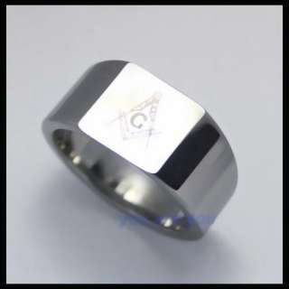 10MM SILVER TUNGSTEN FREEMASON MASONIC RING Size 8 12