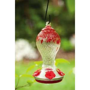Red & Clear Glass Hummingbird Feeder Patio, Lawn & Garden