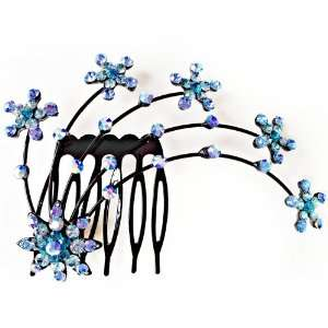 Blue Crystal Rhinestone Flower Head Piece Hair Comb Beauty